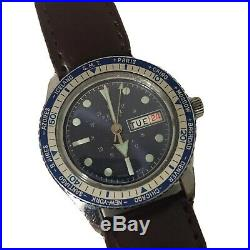 Vintage Remiz Electra Blue GMT 17 Jewels SWISS MADE Dive Watch FOR PARTS