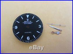 Vintage Rolex #5500 Explorer Matte Black Refinished Dial with Hand-Set