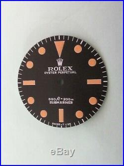 Vintage Rolex #5513 Submariner 660ft Matte Black Repaired Dial + Hand-Set
