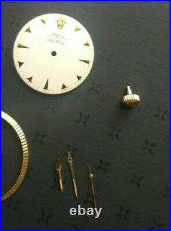 Vintage Rolex Dial, Hands, & Crown For Air-king Reference 5501. Parts Only