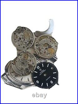 Vintage Tudor Watch Movements Parts Dial Lot Of 3 Automatic Hand-winding