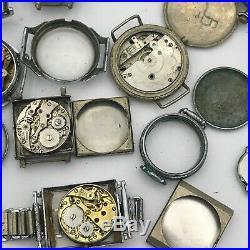 Vintage Watch PARTS Wholesale LOT Movement Dial Case Hands Langendorf Swiss 12ps