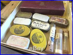 Vintage Wooden 2 Drawer Watch Movement Parts, Hands & Misc Items