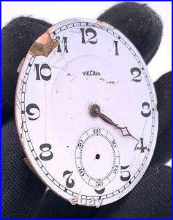 Vulcain 75 Hand Manuale Vintage 42,7 MM No Funziona For Parts Pocket Watch