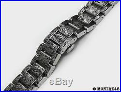 Watch Bracelet Hand Carved Stainless Steel For 20mm watch lugs 22cm length K5