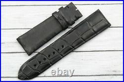 Watch Strap Alligator Black 23,5 New Hand Made Matt Made Italy Spare Parts Watch