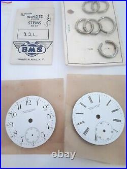 Watch parts, assorted, dials, hands, pocket watch hands