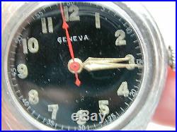 Ww2 Era Geneve Solid Sterling Silver Wrist Watch With Red Center Second Hand