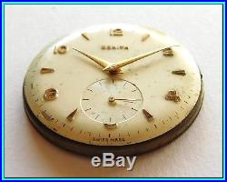 ZENITH Movement CAL. 126-6 With Dial, Hands & Adjust. Ring WORKS NEEDS SERVICE